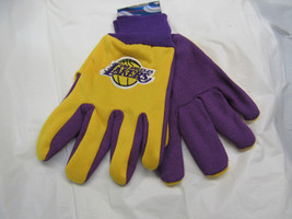 Nba Nwt No Slip Palm Utility Gloves - Los Angeles Lakers - Yellow W/ Purple Palm - $9.95