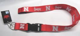 Ncaa Nwt Keychain LANYARD- Nebraska Corn Huskers - White 'N' Slanted Team Name - $6.95