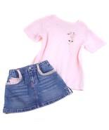 JM Originals Pink Rhinestone Rose Flower Top & Denim Bongo Skort Skirt 4, 5 - $9.89
