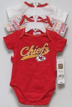 Nfl Nwt Infant ONESIE-SET Of 3- Kansas City Chiefs 6-12 Months - $29.95