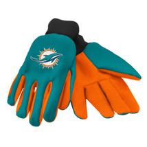Nfl Nwt No Slip Palm Utility Gloves - Miami Dolphins - Green W/ Orange Palm - $8.75