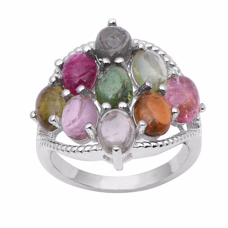 Newest Multi Tourmaline Shiny Gemstone 925 Sterling Silver Ring Sz 9 SHRI0966