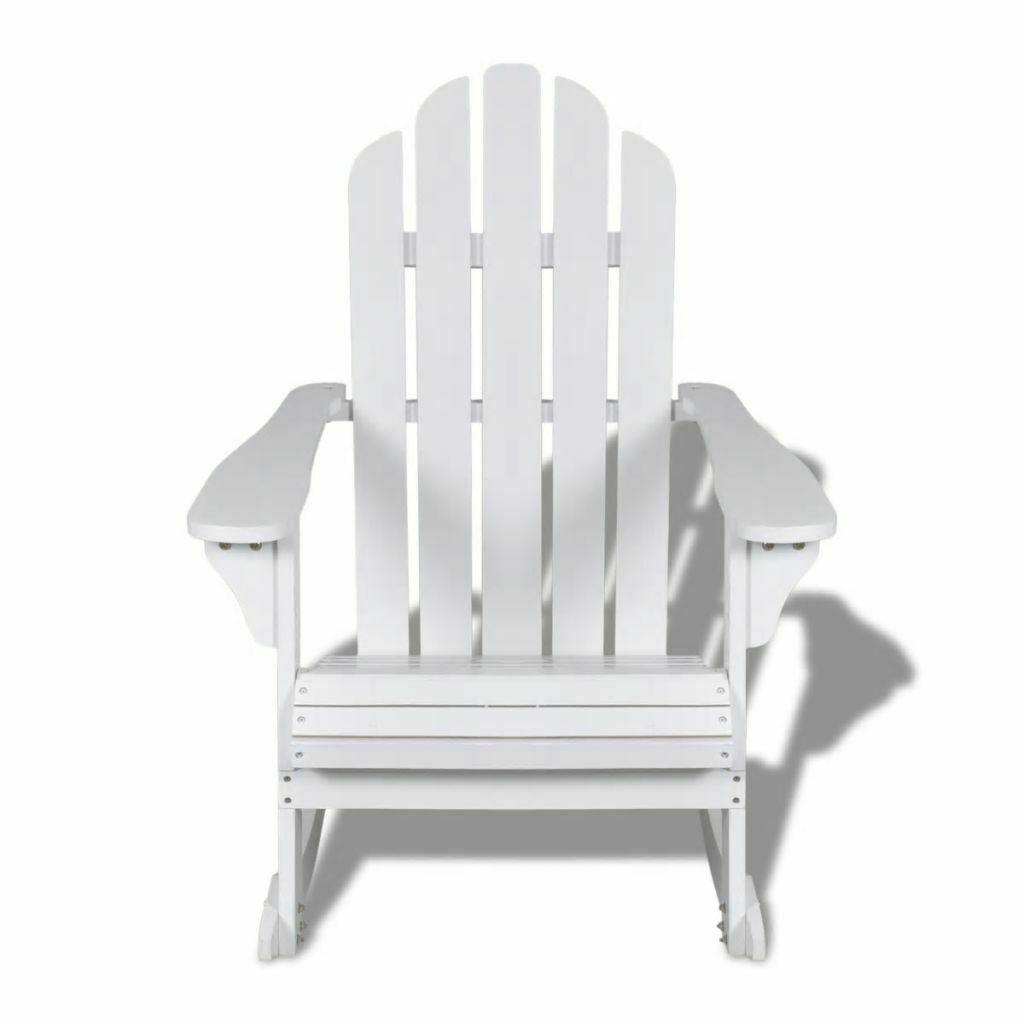 Indoor Outdoor Garden Patio Adirondack Rocking Chair Hardwood Firwood Seat White