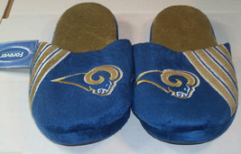 NWT NFL STRIPE LOGO SLIDE SLIPPERS - ST. LOUIS RAMS - EXTRA LARGE - $19.95