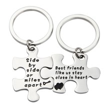 MAOFAED Couples Puzzle Keychain Side By Side Or Miles Apart Puzzle Jewel... - $27.99