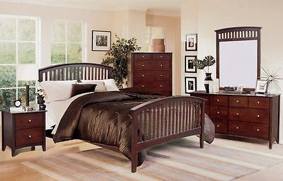 Queen Size Mission Style Bed Cappuccino Finish 4 Piece Bedroom Furniture Set NEW