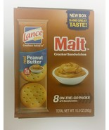 Lance Malt Real Peanut Butter Sandwich Crackers, 1.29 oz, 8 count - $14.59
