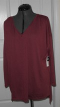 Bobbie Brooks Womans Knit Top Shirt Size 1X Burgundy Stretch Lightweight Nwt - $14.24