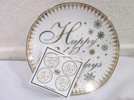 222 Fifth FESTIVE HOLIDAYS Gold Ceramic Dessert Plates Set of 4 - $27.99