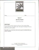Scholastic Literacy Place, Grade 3 Unit Test, Form B, Time Detectives [Paperb...