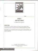 Scholastic Literacy Place, Grade 3 Unit Test, Form A, Community Quilt [Paperb...
