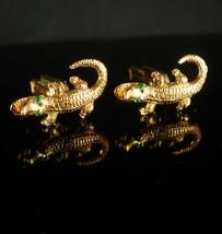 Alligator Cufflinks Crocodile tieclip mens lizard cufflinks figural jewelry rept - $185.00