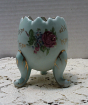 Vintage Napcoware Footed Porcelain Hand Painted Flower Egg Vase  Blue Go... - $10.50