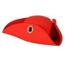 Woolfelt Tricorn Hat - Period Wear / Pirate etc - Red with Jewel  - $25.00