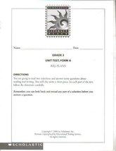 Scholastic Literacy Place, Grade 3 Unit Test, Form A, Big Plans [Paperback] [...