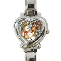 Christmas Snowman Birds Heart Italian Charm Watch - $9.39