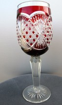 Ruby cased chalice glass cut to clear - $102.50