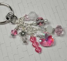 Heart Flower Crystal Beaded Handmade Keychain Split Key Ring Pink White - $16.48
