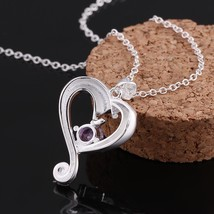 Fashion Women Crystal Pendant Jewelry Heart 925 Sterling Silver Necklace... - $11.75