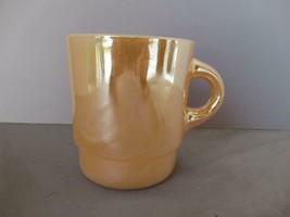 Fire King Anchor Hocking mug peach luster carnival glass coffee tea - $9.75