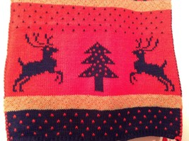 Deer Reindeer Tree Knit Scarf w Pom Poms Red Dark Blue Green Stripes Holiday