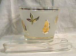 Vintage G. Reeves Ice Bucket Gold Leaves Foliage Frosted Glass Mid Century - $20.00