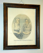 original drawing by Floyd McDowell dated 1988  grandparents pencil framed - $65.00