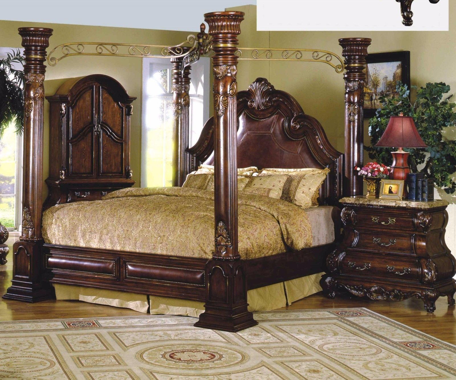 Mcferran Rb9088 Monaco Leather Eastern King Size Bedroom Set Traditional Bedroom Sets