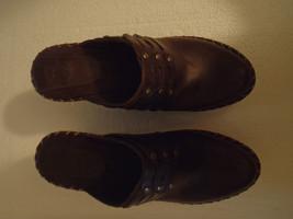 Frye Wedges Clogs Heels Dark Brown Leather Tanned 70850 Slides Mules 5.5M - $55.71