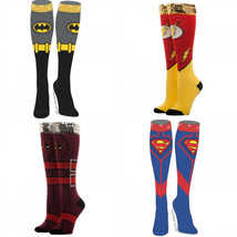 Superman The Flash Batman Deadpool Dc Comics Sequin Cuff Knee High Socks - $9.75