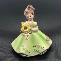 Josef Originals Figurine 1960s Girl Of Month Calendar Japan August Peridot Green - $34.65
