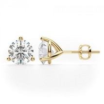 3CT Round Solid 18K Yellow Gold Brilliant Cut Martini ScrewBack Stud Ear... - $228.49