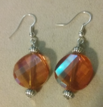 Artisan Handmade Orange Helix Glass Crystal Dangle Earrings Jewelry Gift... - $6.99