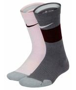 Nike Girl`s 2PK Elite Crew Socks Pink/Gray Small 3Y-5Y SX7309-943 - $19.99