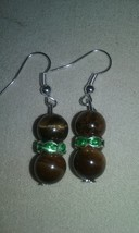 Handmade Genuine Tiger's Eye Gemstone Green Crystal Dangle Earrings Jewe... - $6.99