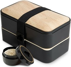 All-in-One Stackable Bento Lunch Box w/ Wood Cutlery Set Microwave, Dish... - $19.77