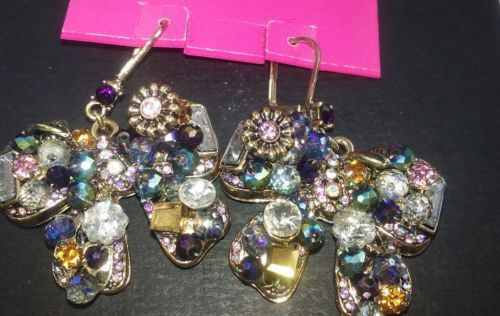 BETSEY JOHNSON BOWS WITH GORGEOUS JEWELS, CRYSTALS AND STONES NWT $45!
