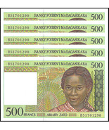 Madagascar 500 Francs X 5 Pieces (PCS), 1994, P... - $254,07 MXN