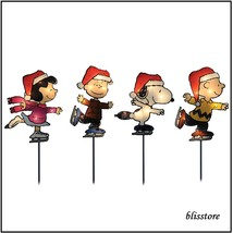 Christmas Yard Decor Peanuts Lighted Outdoor Decoration 4 Pc Set Lawn St... - $30.98