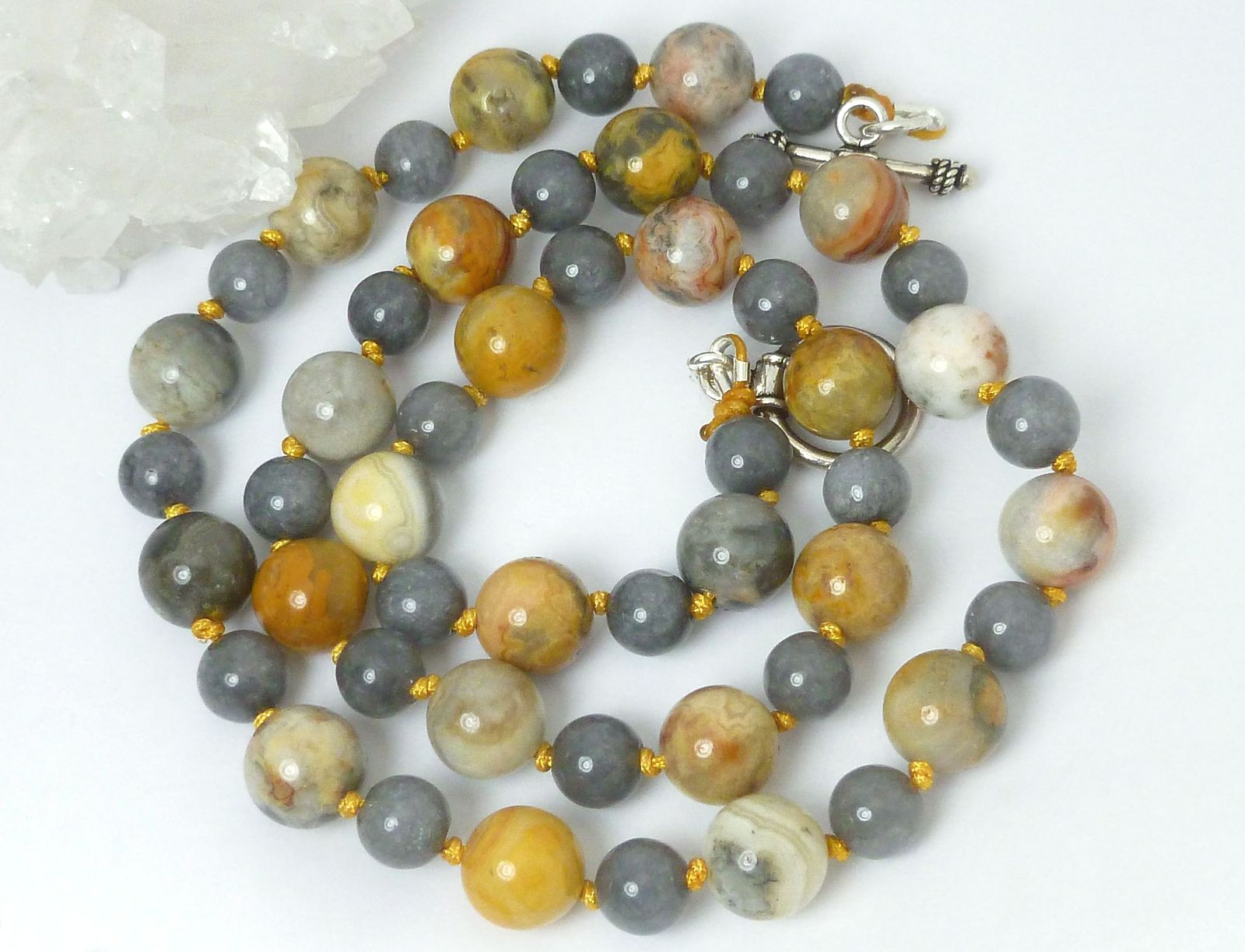Orange Cream Crazy Lace Agate Gray Jade Beaded Sweater Necklace 23 inch