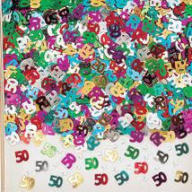 50TH BIRTHDAY MULTI COLOURED CONFETTI - BIRTHDAY PARTY TABLE DECORATION 12g - £1.58 GBP
