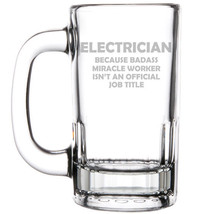 12oz Beer Mug Stein Glass Electrician Miracle Worker Job Title Funny - $12.86