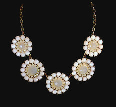 Vintage Flower Necklace, Faceted Cream Lucite Cabochons Set in Gold Tone - $34.99