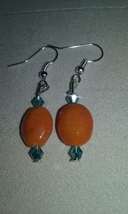 Handmade Orange Lampwork Blown Glass Crystal Accent Dangle Earrings Jewe... - $5.99