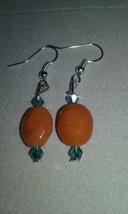 Handmade Orange Lampwork Blown Glass Crystal Accent Dangle Earrings Jewe... - $5.99
