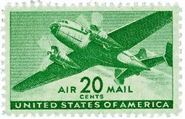 1941 20c Twin-Motored Transport Plane, Air Mail, Green Scott C29 Mint F/... - $1.97