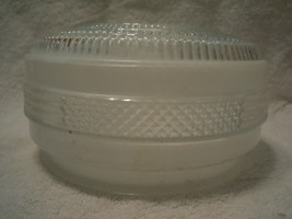 Vintage Frosted White & Clear Glass Round Ceiling Light Fixture Cover - $15.99