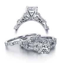 A certified 1 carat vintage princess diamond wedding ring set for her in white gold  1  thumb200