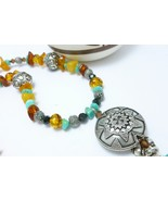 Turquoise and Amber Nugget Gemstones Bali Sterling Beaded Necklace - $85.00