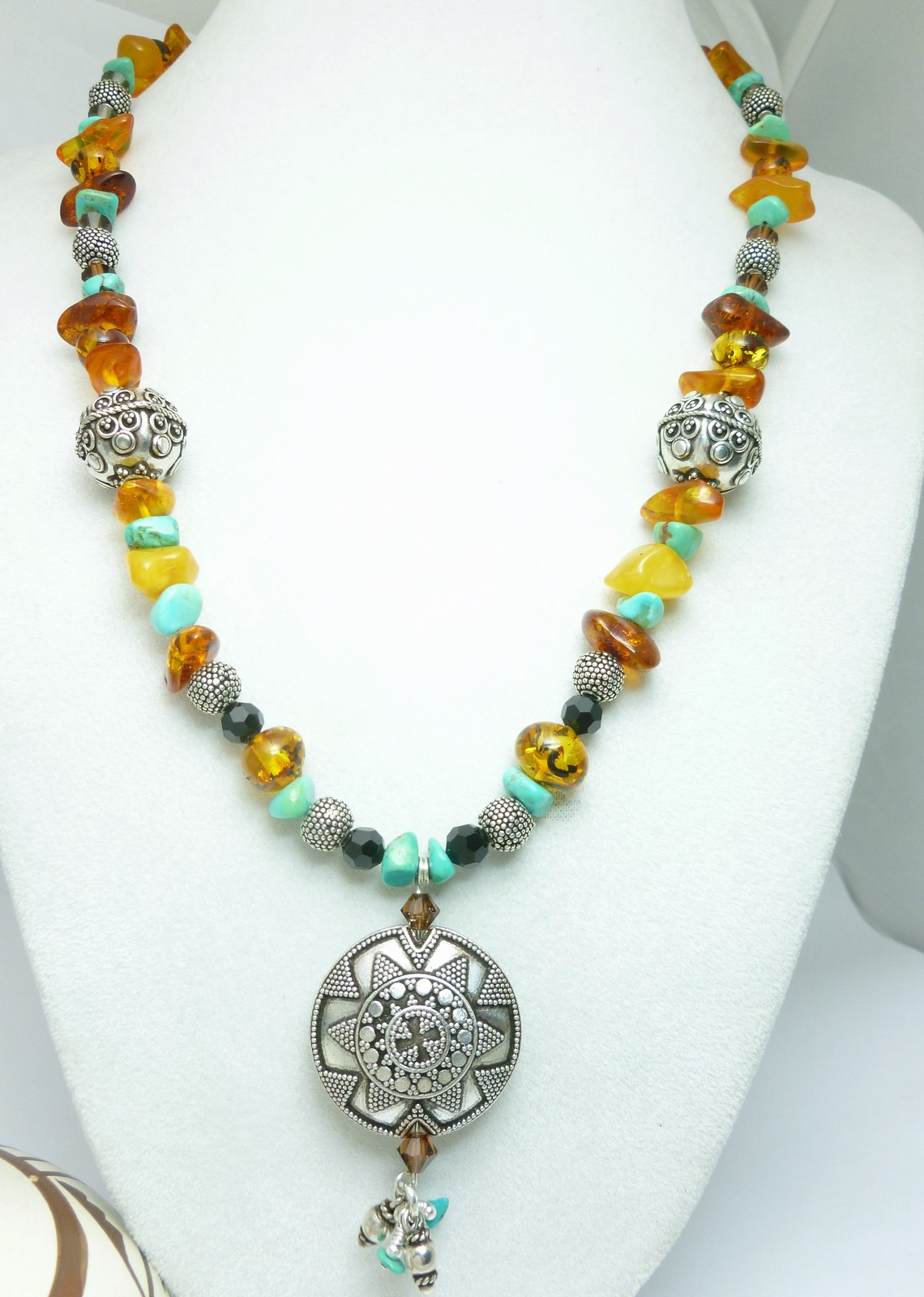 Turquoise and Amber Nugget Gemstones Bali Sterling Beaded Necklace